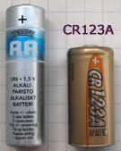 CR123A vs. AA Battery