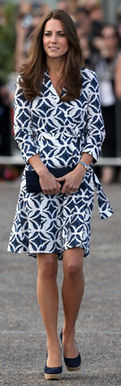 Catherine, Duchess of Cambridge, in DVF wrap dress