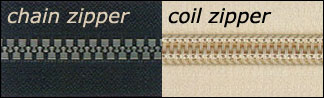 chain vs. coil zippers